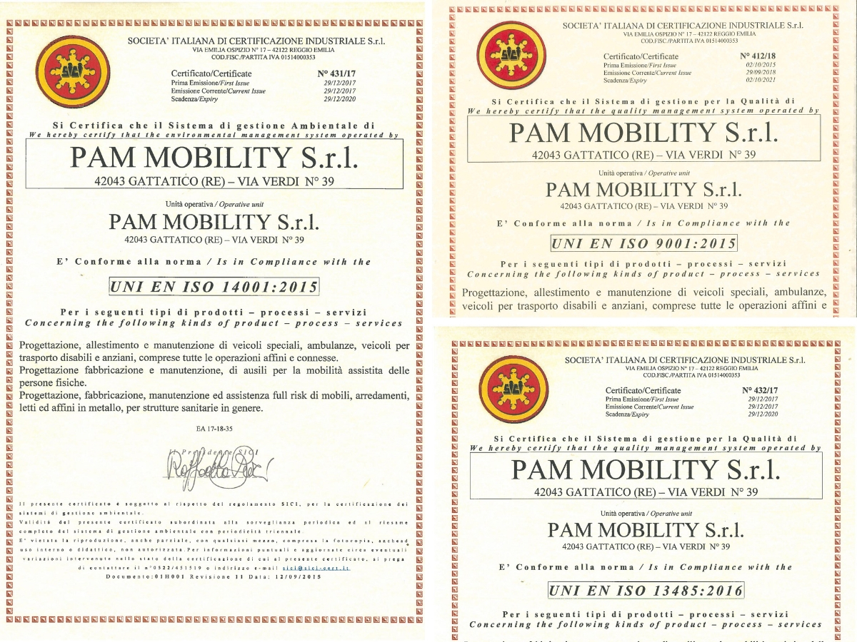 Certificazioni Pam Mobility